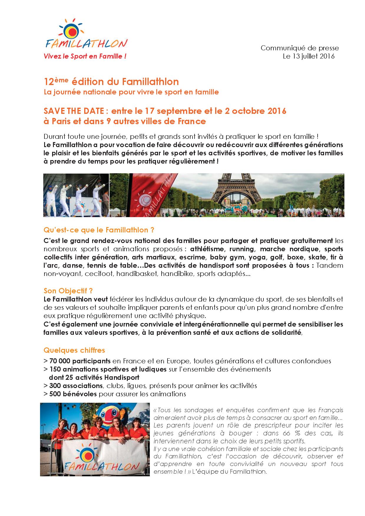 Gut bekannt Documents – FAMILLATHLON, La Famille, c'est Sport EP75